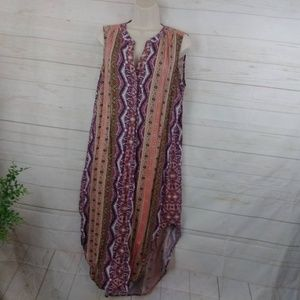 Cable & Guage Print Sleeveless Scarf Maxi Dress LG